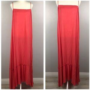 Flynn Skye Flowy Gauze Maxi Dress w Ruffe Hem Sz S